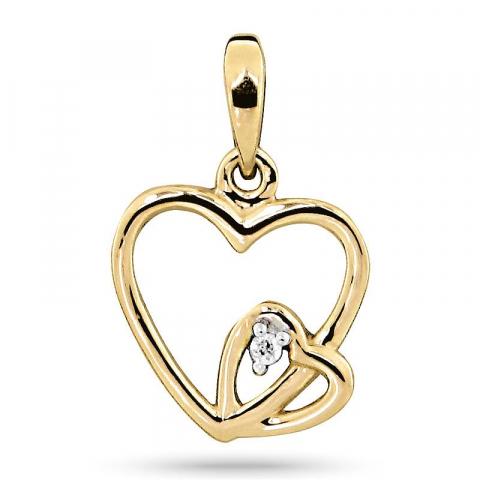 Sött hjärta hängen i 9 carat guld