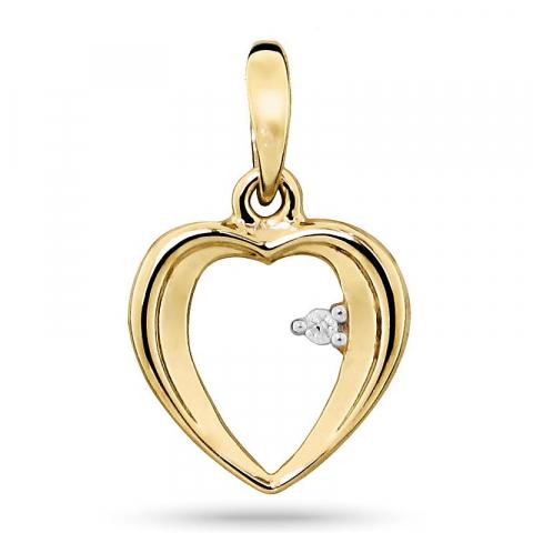 Diamant hjärthängen i 9 carat guld