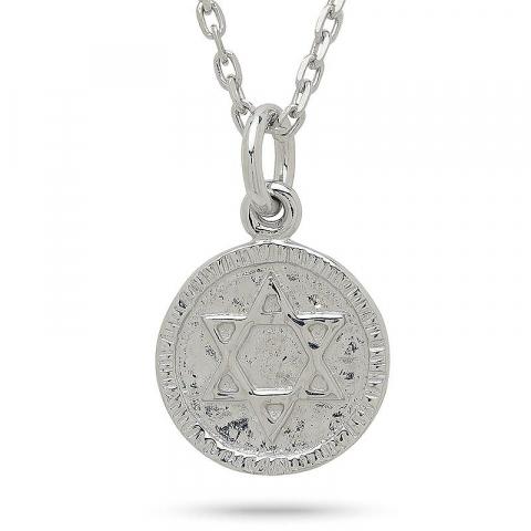 Runt davidsstjärna hängen i rhodinerat silver