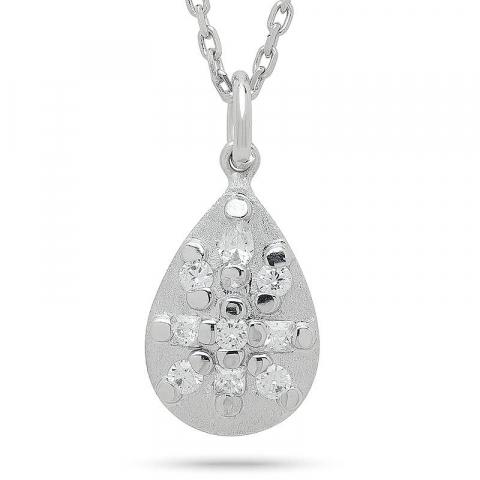 Moderna droppe hängen i rhodinerat silver