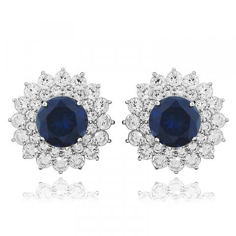 Stora runda blå rosettörhängestift i rhodinerat silver