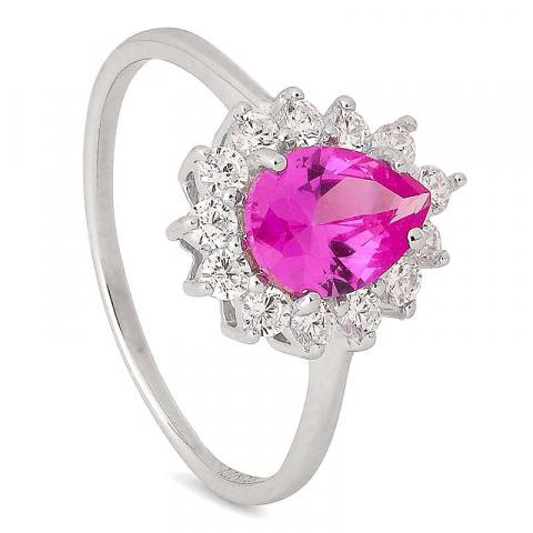 Vacker droppe rosa silver ring i silver