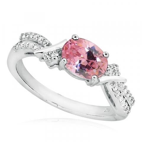 Söt rosa zirkon ring i silver