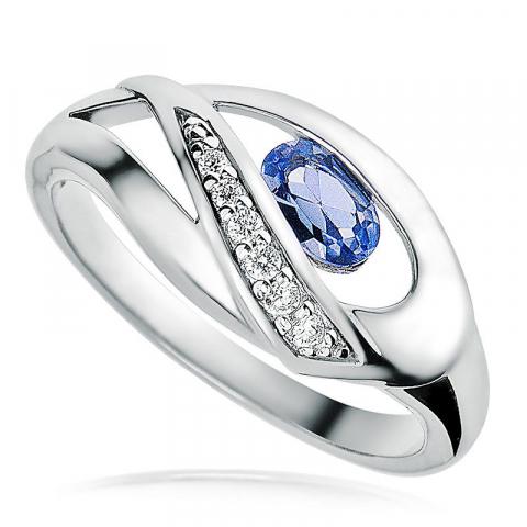 Moderna blå zirkon ring i rhodinerat silver