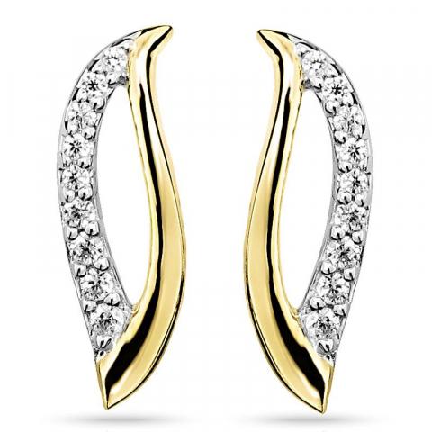 Vackra zirkon örhängen i silver med förgyllt silver