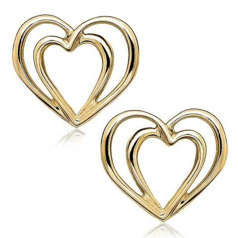 Fina hjärta örhängen i 9 karat guld med