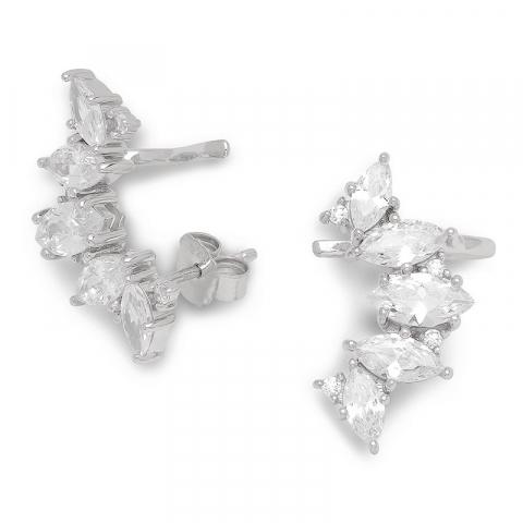 eleganta zirkon örhängen i silver
