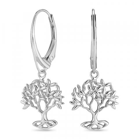 långa livets träd örhängen i silver