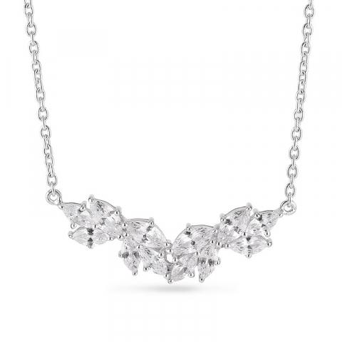 elegant zirkon halsband i silver