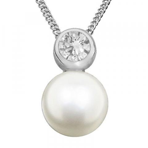 Fint runt pärla hängen i rhodinerat silver