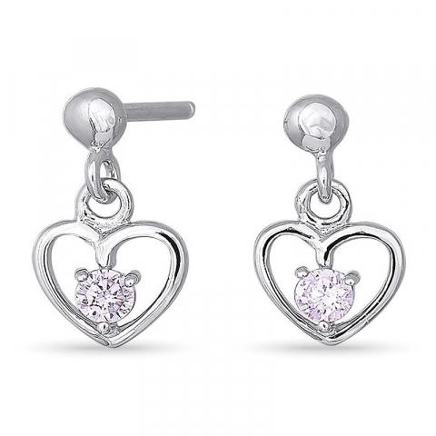 Nordahl andersen hjärta örhängen i rhodinerat silver rosa zirkoner