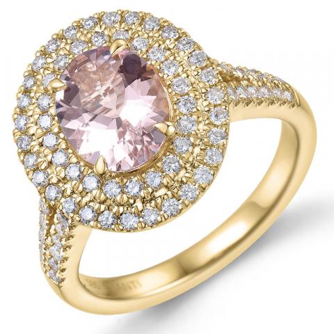 morganit diamantring i 14  karat guld 1,82 ct 0,75 ct