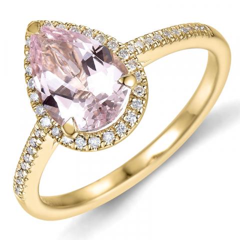 morganit diamantring i 14  karat guld 1,80 ct 0,16 ct