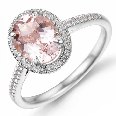morganit diamantring i 14  karat vitguld 1,82 ct 0,16 ct