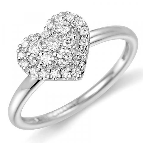 Hjärta diamantring i 14  karat vitguld 0,22 ct