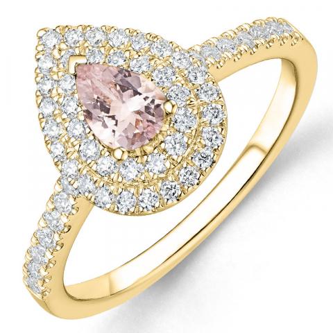 morganit diamantring i 14  karat guld 0,35 ct 0,39 ct