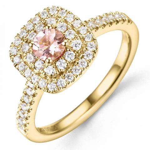 morganit diamantring i 14  karat guld 0,22 ct 0,34 ct