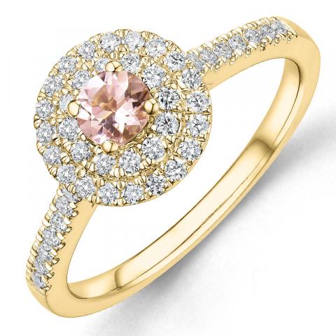 morganit diamantring i 14  karat guld 0,22 ct 0,33 ct