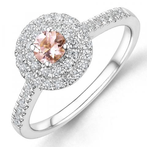 morganit diamantring i 14  karat vitguld 0,22 ct 0,33 ct