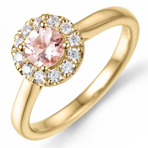 morganit diamantring i 14  karat guld 0,43 ct 0,22 ct