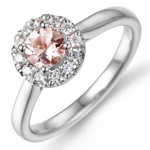 morganit diamantring i 14  karat vitguld 0,43 ct 0,22 ct