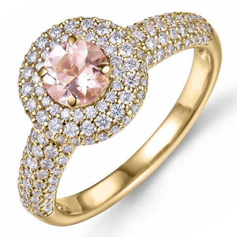 morganit diamantring i 14  karat guld 0,43 ct 0,66 ct