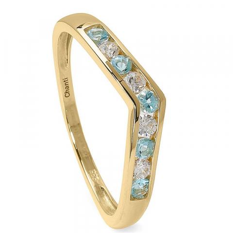 Smal blå topas ring i 14 karat guld