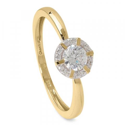Fin rund zirkon ring i 14 karat guld med rhodium