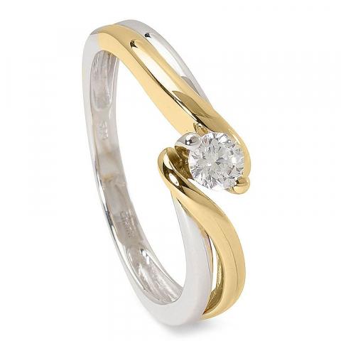 Fin zirkon ring i 14 karat guld med rhodium