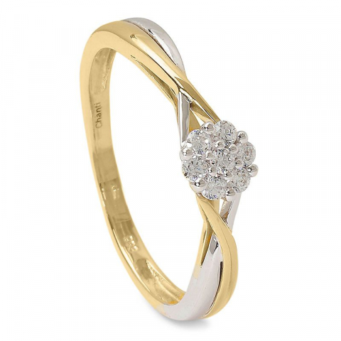 Moderna vit zirkon ring i 14 karat guld med rhodium