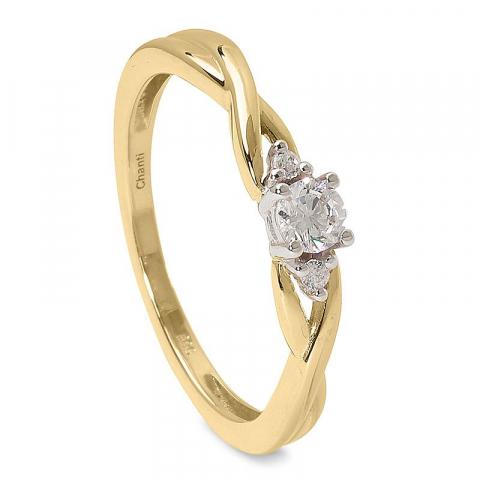 Slät vit zirkon ring i 14 karat guld med rhodium