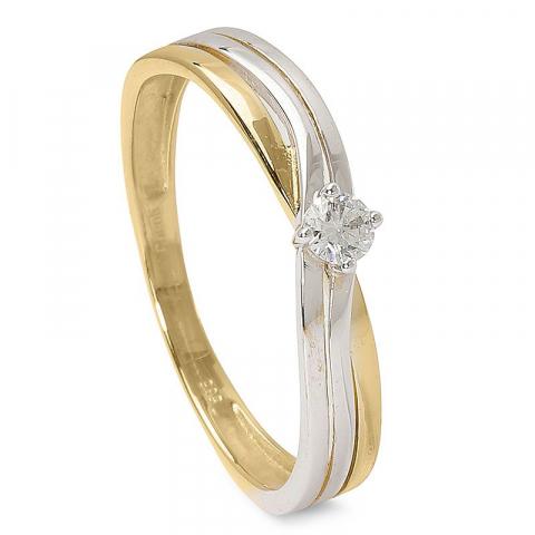Fin diamant ring i 14  karat guld med rhodium 0,09 ct