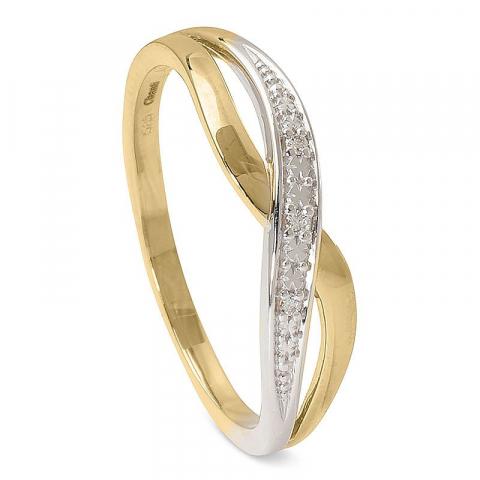 Vacker diamantring i 14  karat guld med rhodium 0,017 ct