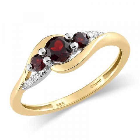 Vacker granat guld ring i 14  karat guld med rhodium  0,02 ct