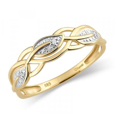 Söt diamant guld ring i 14  karat guld med rhodium 0,015 ct
