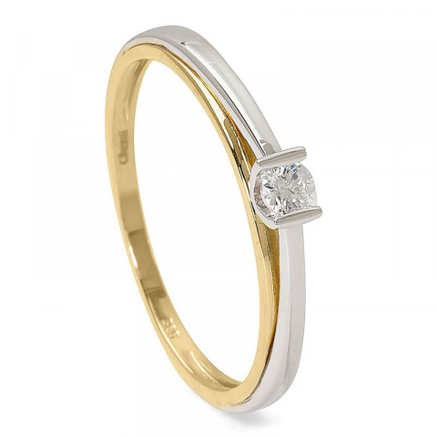 Elegant diamant guld ring i 14  karat guld med rhodium 0,08 ct