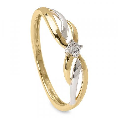 Enkel diamantring i 14  karat guld med rhodium 0,01 ct