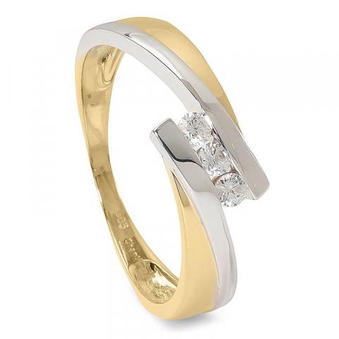 Bred vit zirkon ring i 14 karat guld med rhodium