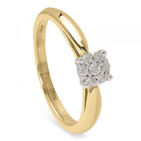 Enkel vacker zirkon ring i 14 karat guld med rhodium