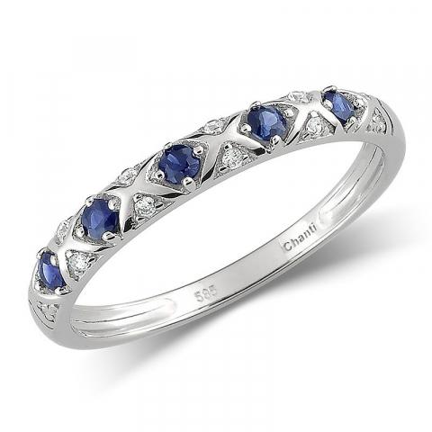 Smal blå safir ring i 14 karat vitguld