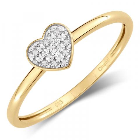 Lille hjärta zirkon ring i 14 karat guld med rhodium