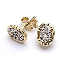 Ovala guldörhängen i 9 karat guld med zirkon