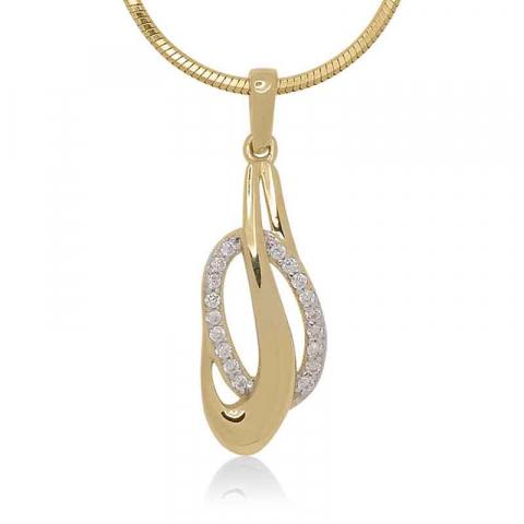 Smart abstrakt zirkon hängen i 9 karat guld