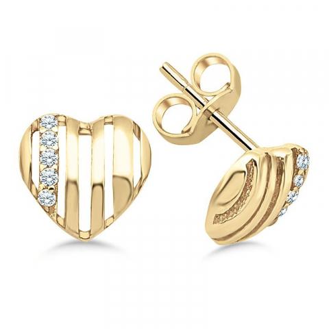 äkta  hjärteörhängen i 9 karat guld med zirkon