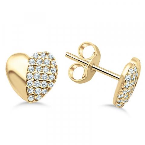 Söta hjärta örhängestift i 9 karat guld med zirkon
