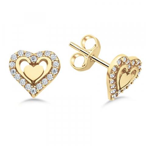 Fin hjärta örhängestift i 9 karat guld med zirkon
