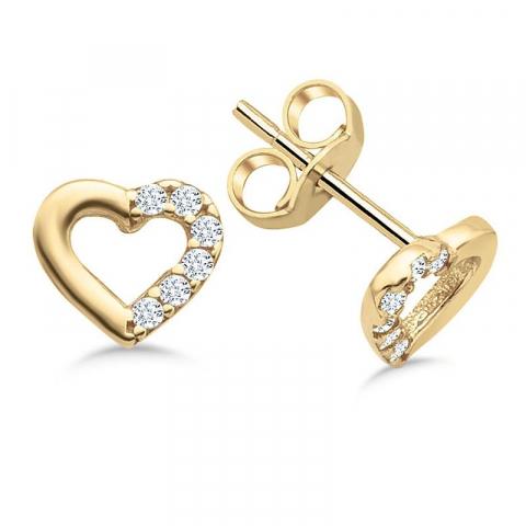 Vackra hjärta örhängestift i 9 karat guld med zirkon