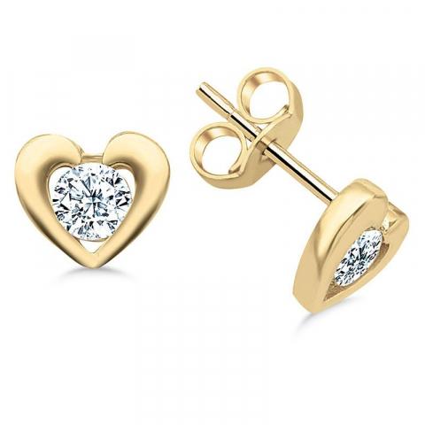 Små hjärta örhängestift i 9 karat guld med zirkoner