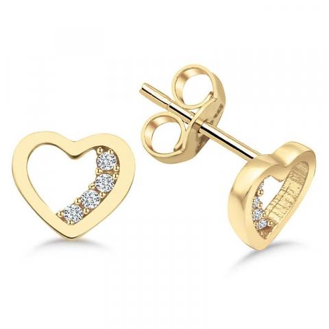 Sköna hjärta örhängestift i 9 karat guld med zirkon