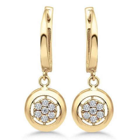 Långa runda örhängen i 9 karat guld med zirkon